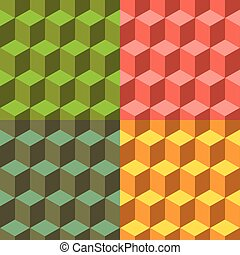 Cube set of vector seamless backgrounds