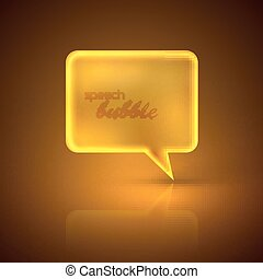 illustration with golden speech bubble