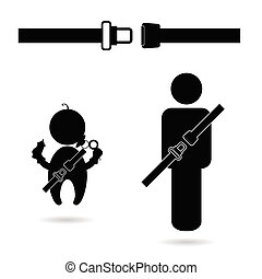 seat belt with people icon vector illustration