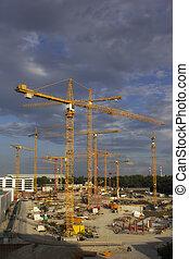 construção, guindastes,