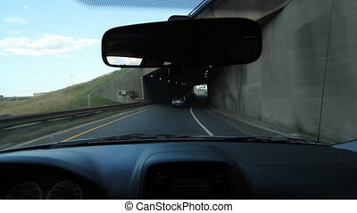 401 to Don Valley Parkway. - Driving through underpass....