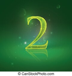 2. Green glowing number two