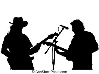 Guitarist at concert - Guitar rock band on a white...