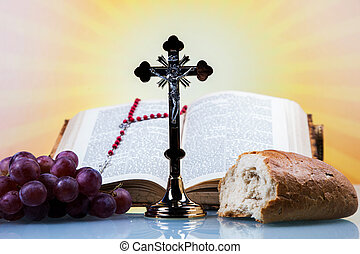 Christian religion, wine, bread and the word of God on...
