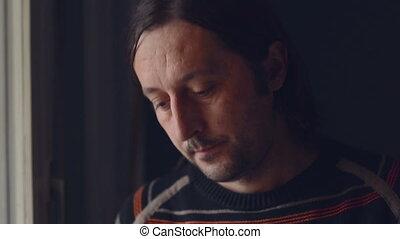 Sad man in depression