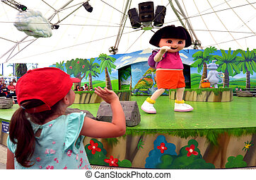 Dora the Explorer - GOLD COAST, AUS - NOV 06 2014:Litlle...