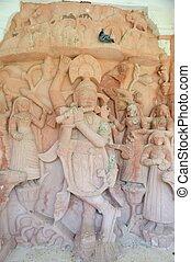 antiguo, piedra, curvo, Esculturas, de, hindú,...