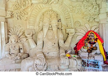 Ancient stone curved sculptures of Hindu Gods and godess -...