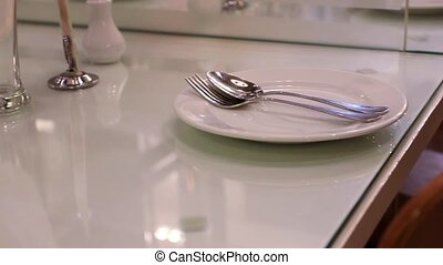 Close up of table setting for dinner in a restaurant. HD. 1920x1080