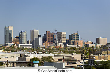 City of Phoenix Downtown, AZ - Blue Sky Cityscape of Phoenix...