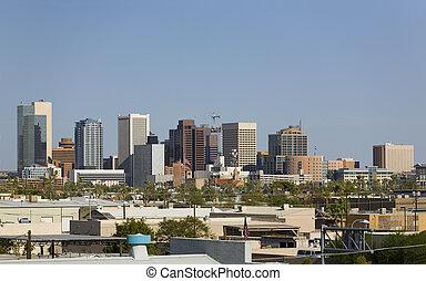 cidade, Phoenix, centro cidade, az