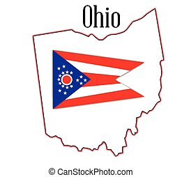 Ohio State Map and Flag
