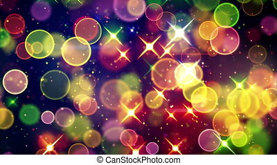 colorful circle bokeh and stars