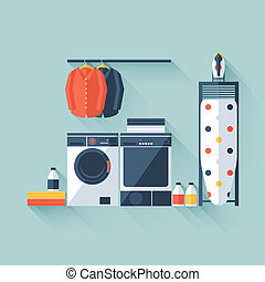 Laundry room with washing machine and dryer. Flat style with...