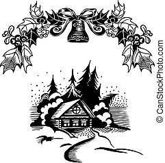 Christmas wreath and house - House in the woods, snow and...