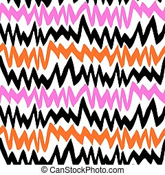 Striped hand drawn pattern with zigzag lines with ethnic and...