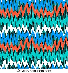 Striped hand drawn pattern with zigzag lines - Striped hand...