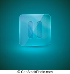 glass icon with pause sign