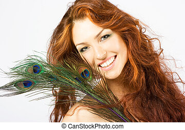 Close-up fresh bright lady with long red hair - Close-up...