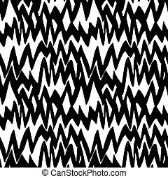 Striped hand drawn pattern with zigzag lines - Grunge hand...