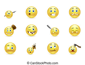 Kidding smiley - Vector set kidding funny smiles