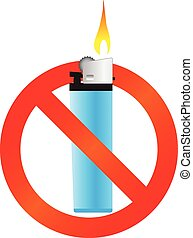 no fire with lighter color vector