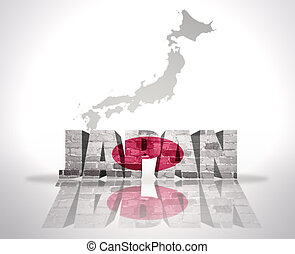 Word Japan on a map background