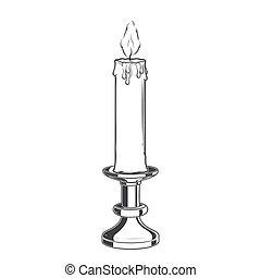 płonący, stary, świeca, i, rocznik wina, lichtarz,