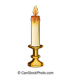 Burning old candle and vintage brass candlestick isolated on...