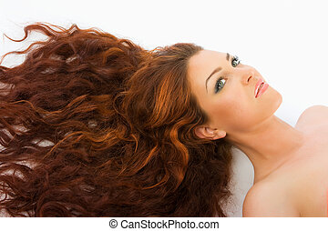 Red haired model in studio - Close-up beautiful luxury fresh...