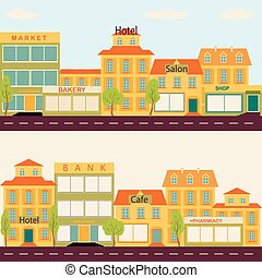 Set of buildings in the style small business flat design -...
