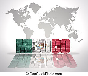 Word Mexico on a world map background - Word Mexico with...