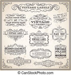 Vintage Calligraphic Labels Set - Big collection of Vintage...