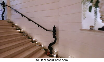 Marble staircase with Crystal Chandelier - Camera on...