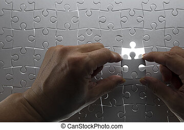 puzzle piece coming down into it's