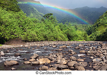 Tahiti. Polynesia. Mountain,  river and rainbow