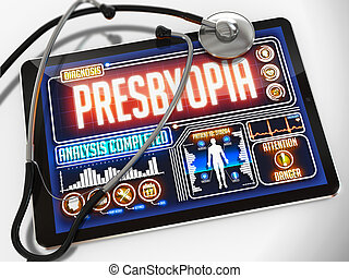 Presbyopia Diagnosis on the Display of Medical Tablet. -...