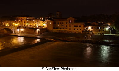 tiber island at night - Tiber island Time Lapse at night,...