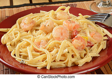 Shrimp scampi on linguine in a garlic butter sauce
