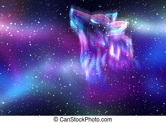 Howling Wolf Spirit - Colorful northern sky with howling...