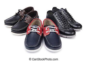 macho, zapatos, aislado, en, blanco,