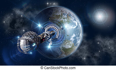 Warp-drive spaceship leaving Earth - Spaceship with forming...