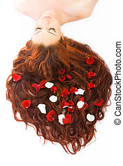 Woman with long red hair - Close-up beautiful luxury fresh...