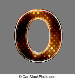 Christmas letter O with glowing light texture isolated on...