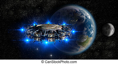 Alien UFO nearing Earth - Alien mother-ship UFO nearing...