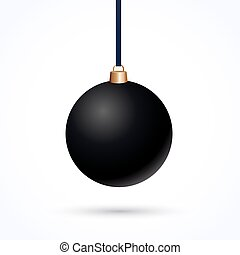 Christmas ball - matte black Christmas ball on a white...
