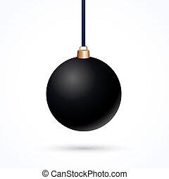 Christmas ball - matte black Christmas ball on a white...