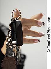 llaves, y, belleza, mano,
