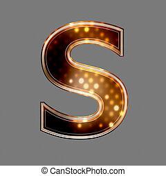 noël, lettre, s, à, incandescent, lumière, texture,