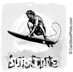 surfing vector illustration for shirt printed and poster